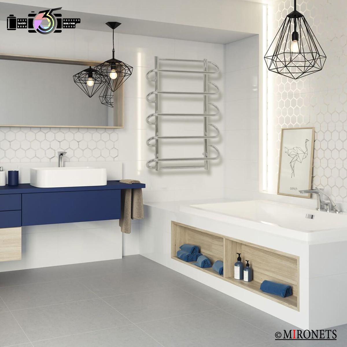 инсталляция полотенцесушителя в интерьер ванной комнаты