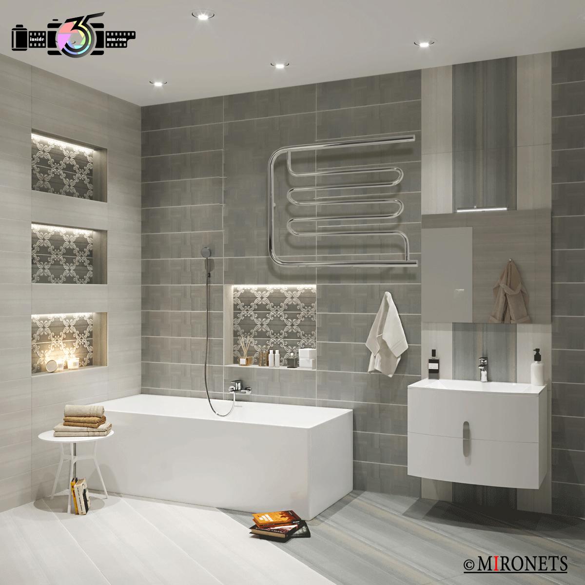 пример до и после инсталяции полотенцесушителя в ванной